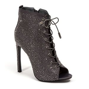 Charcoal Gray Rhinestone Lace Up Booties